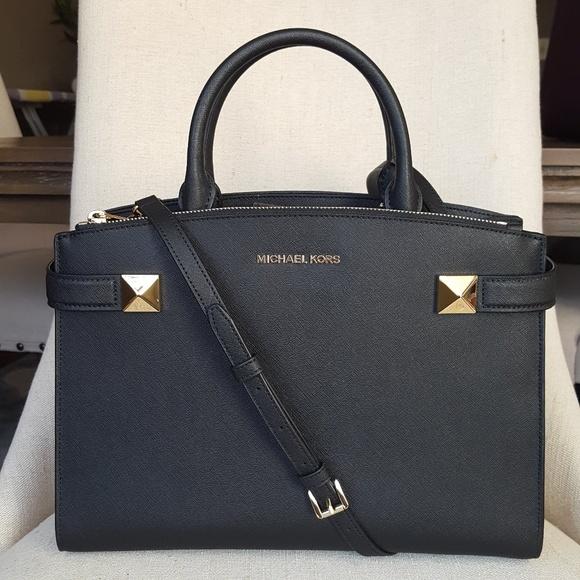 NWT Michael Kors LG Karla Satchel bag purse Black Boutique